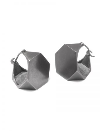Truncated Tetrahedron Earrings - Black