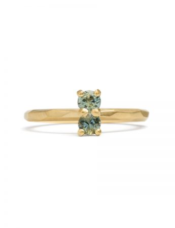 Pale Blue Green Double Sapphire Ring