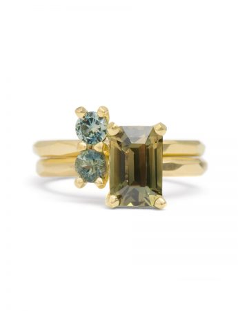 Pale Blue Grey Double Sapphire Ring