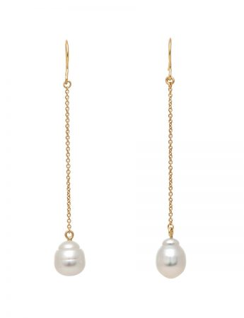 Chain Drop Pearl Earrings