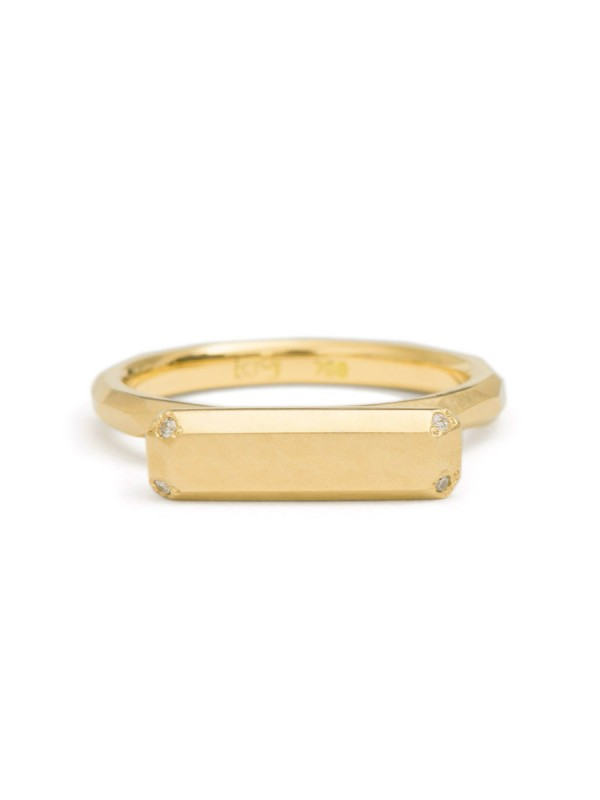 Four Diamond Gold Bar Ring