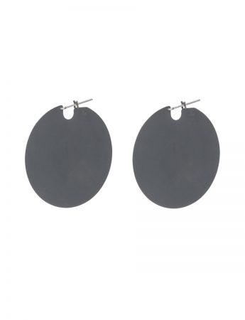 Large U Disc Earrings - Oxidised Silver