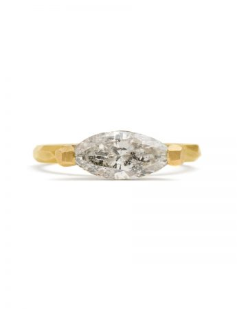Marquise Cut Salt & Pepper Diamond Ring