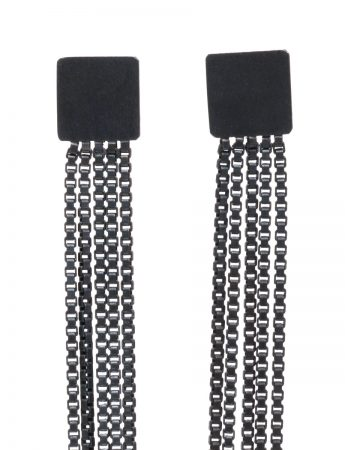 Extra Long Shikaku Square Chain Earrings – Black