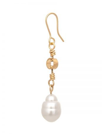 Swivel Drop South Sea Pearl Earrings - Gold
