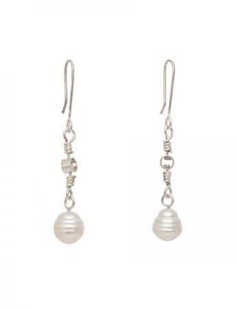Swivel Drop South Sea Pearl Earrings - Silver