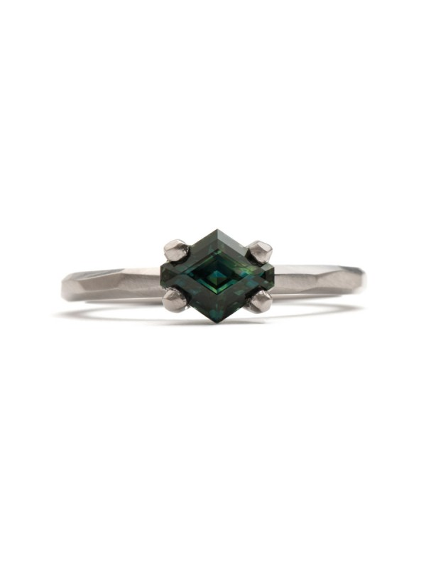 Teal Hexagon Cut Sapphire Ring