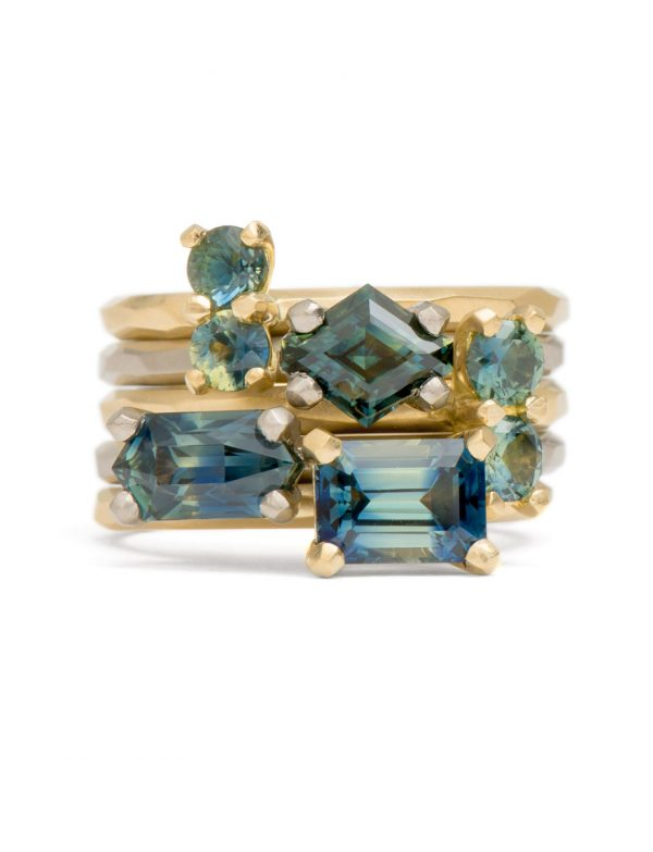 Two Tone Teal Sapphire Ring