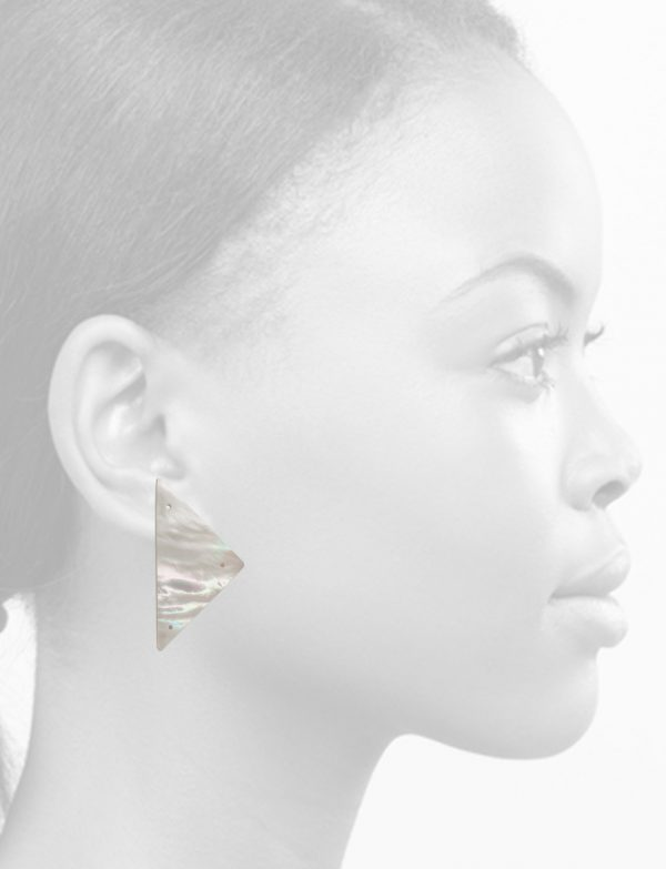 Triangle Carved Mother Of Pearl Earrings – Large