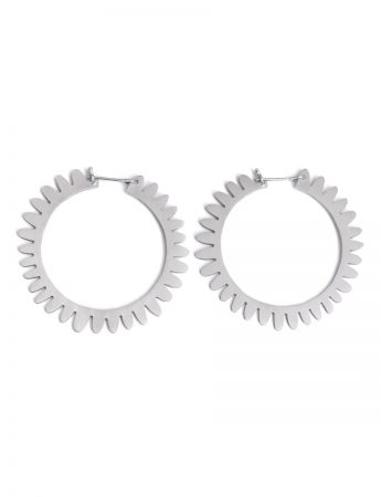 Large Whirlpool Hoop Earrings - Silver