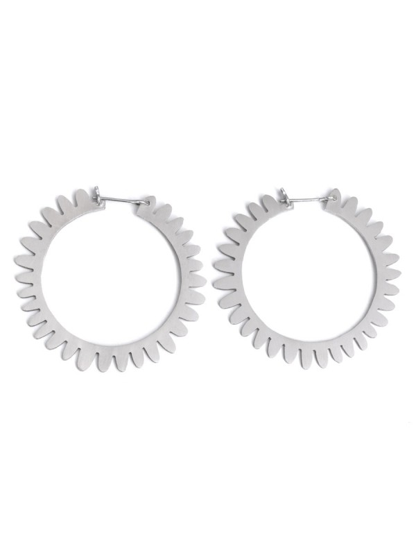 Large Whirlpool Hoop Earrings – Silver