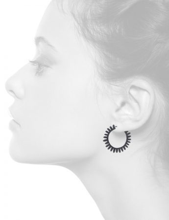 Medium Whirlpool Hoop Earrings – Oxidised Silver