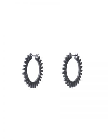 Medium Whirlpool Hoop Earrings - Oxidised Silver