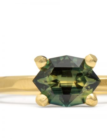 Yellow & Green Maroke Cut Sapphire Ring