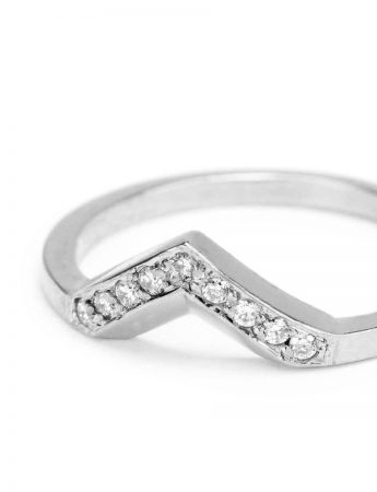 Angle Ring - White Gold & Diamonds