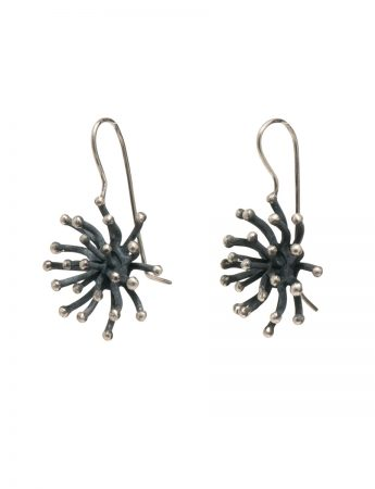 Blossom Hook Earrings - Blackened Silver