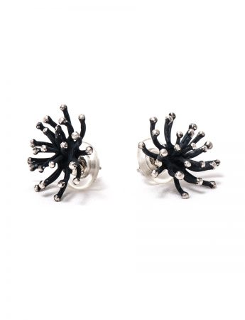 Blossom Stud Earrings - Blackened Silver