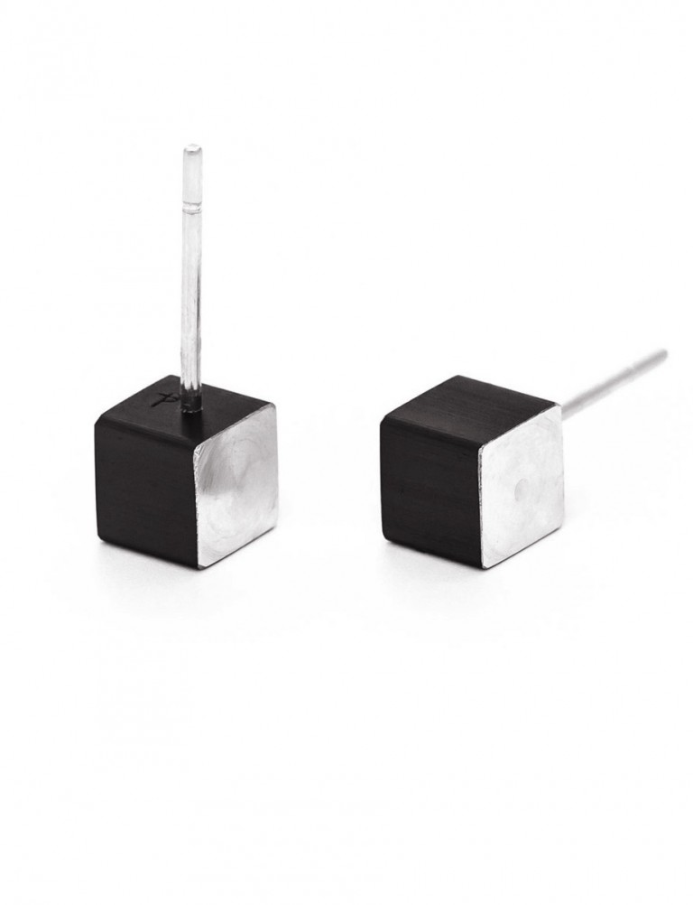 Cubist Stud Earrings – Black Front