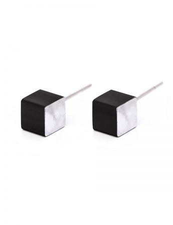 Cubist Stud Earrings - Black Front