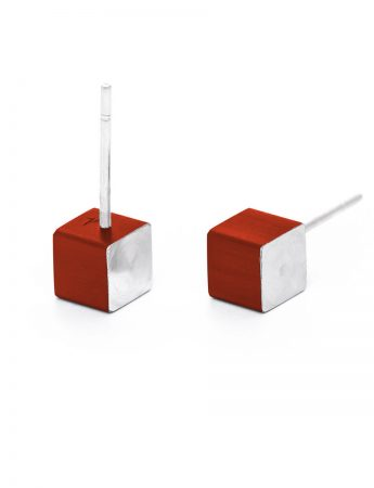 Cubist Stud Earrings - Red Front