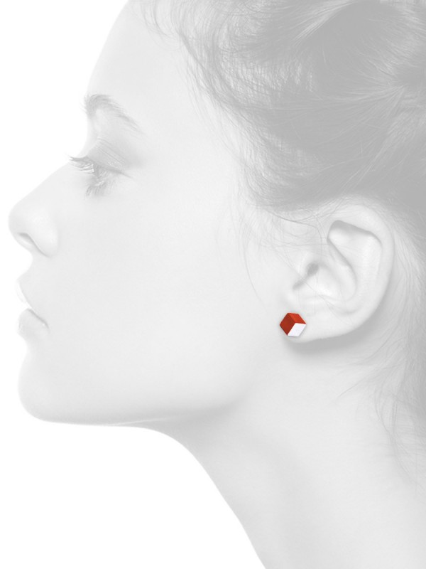 Cubist Stud Earrings – Red Front