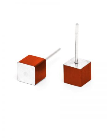 Cubist Stud Earrings - Red Side