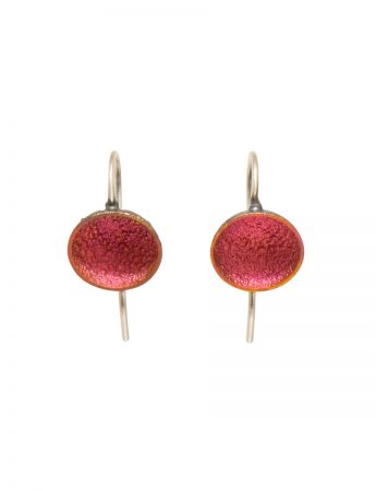 Small Dome Hook Earrings – Pink