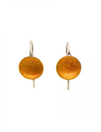 Small Dome Hook Earrings - Yellow
