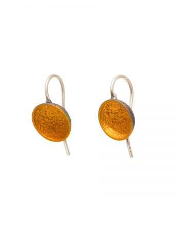 Small Dome Hook Earrings - Orange