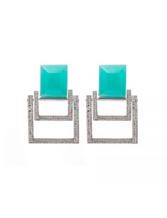 Square Earrings - Green