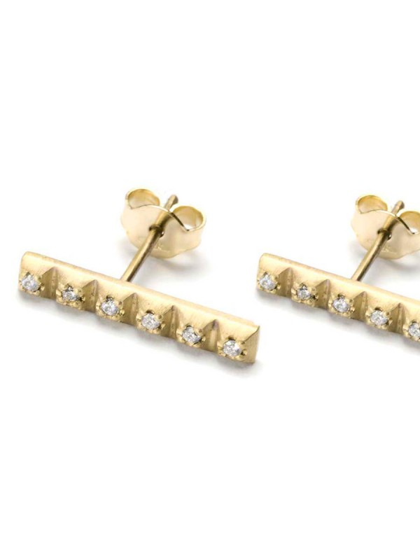 Diamond Line Earrings – Yellow Gold