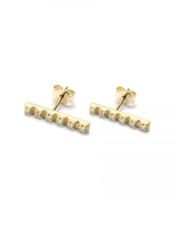 Diamond Line Earrings - Yellow Gold