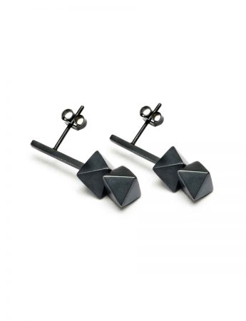 Short Axis Earrings - Oxidised Silver