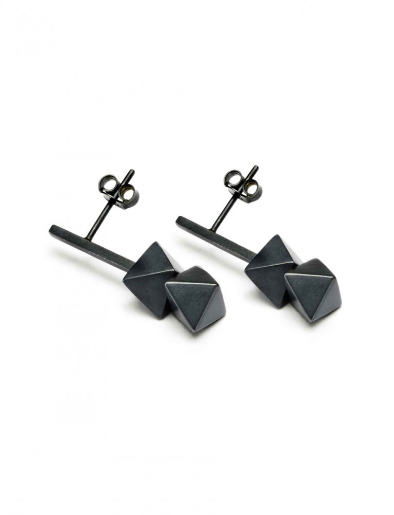 Short Axis Earrings – Oxidised Silver