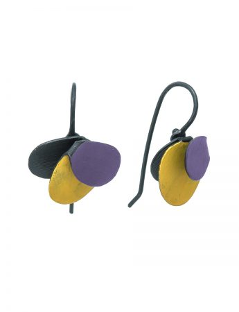 Violet Hook Earrings - Yellow & Purple
