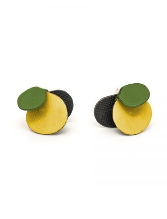 Violet Stud Earrings - Yellow & Green