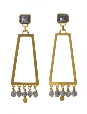 Apsara Drop Earrings - Grey Diamond