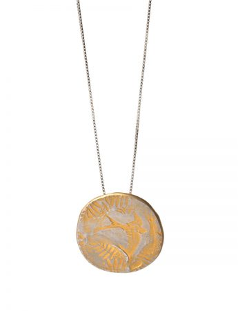 Bird & Leaves Large Pendant - Gold Plate