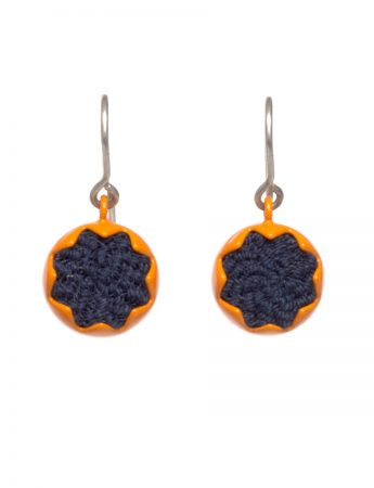 Corona Hook Earrings - Orange & Navy