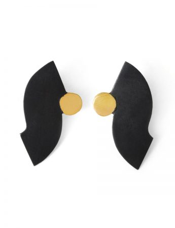 Curve Stud Earrings - Black & Gold