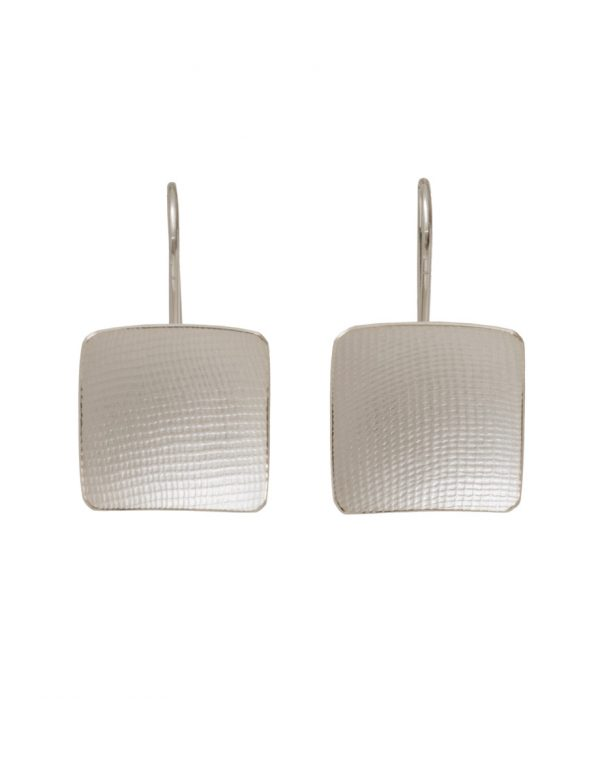 Domed Square Hook Earrings – Fabric Imprint