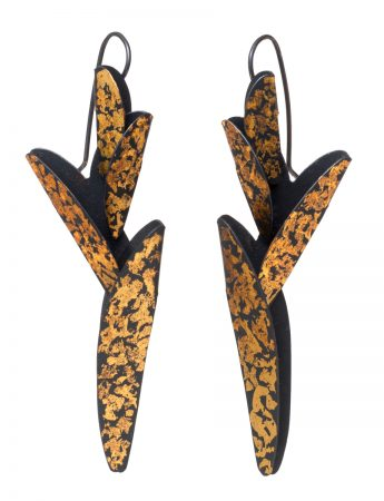 Extra Long Bird of Paradise Earrings - Black & Gold