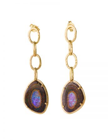 Galaxy Chain Earrings - Boulder Opal