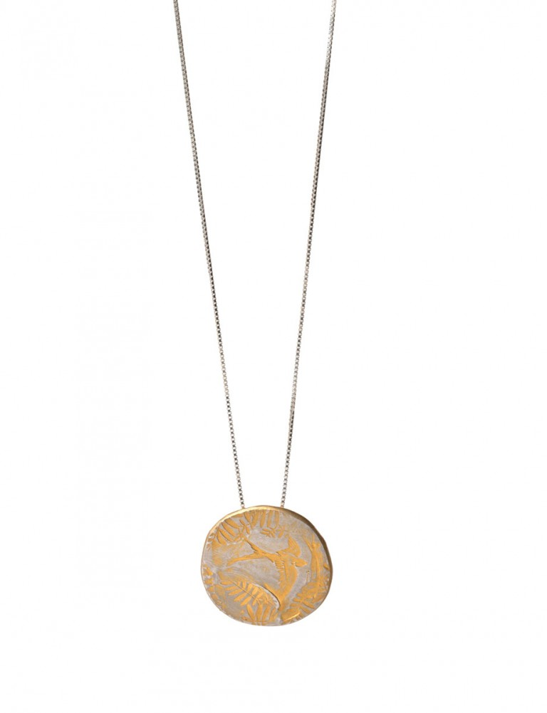 Bird & Leaves Large Pendant – Gold Plate