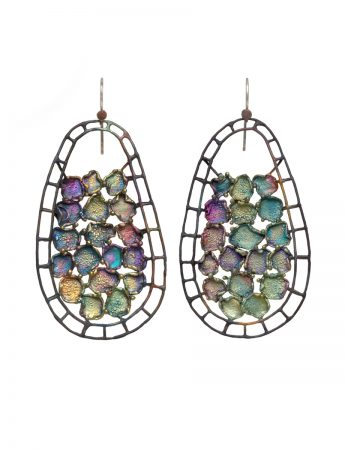Hanging Teardrop Shibuichi Earrings - Cool Tones