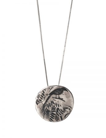 Leaves & Bird Necklace - Silver