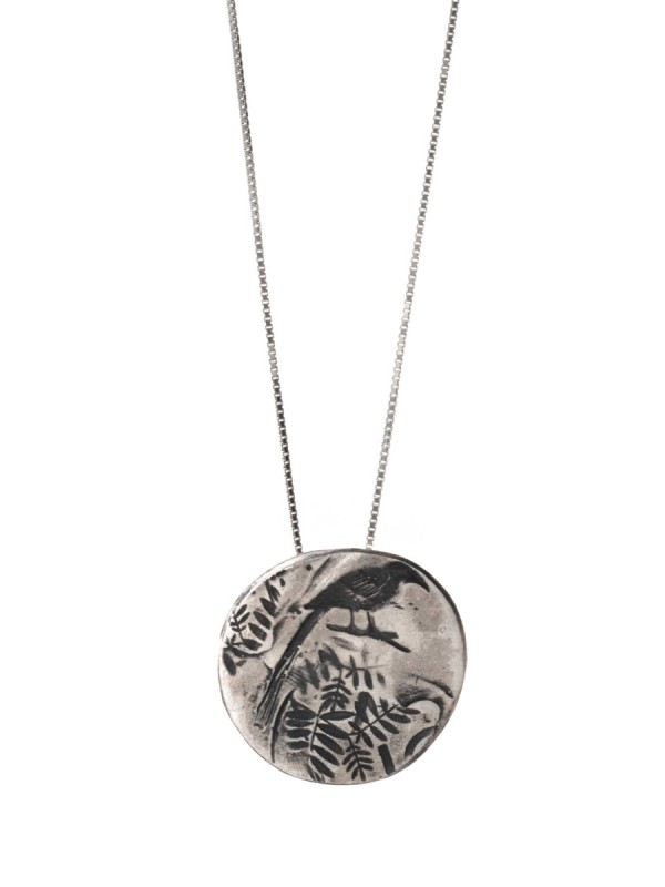 Leaves & Bird Necklace – Silver