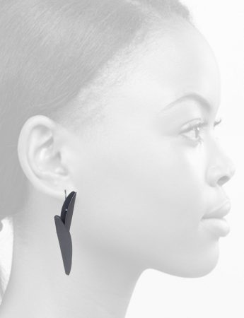 Long Bird of Paradise Earrings – Black