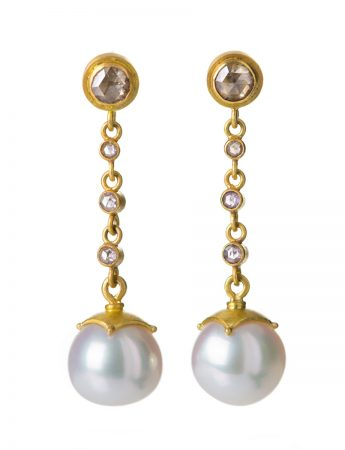 Long Pink Diamond & Pearl Earrings
