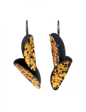 Small Bird of Paradise Earrings - Black & Gold